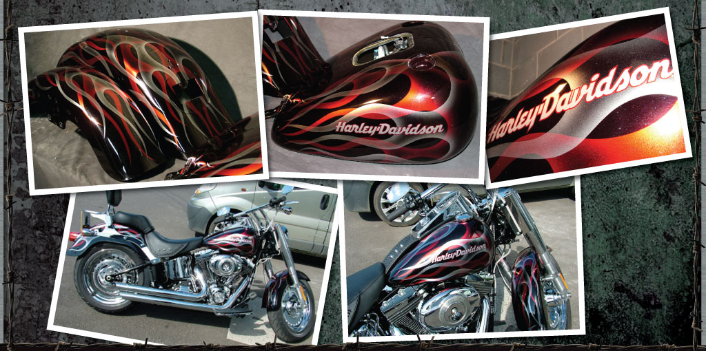 Harley Davidson Fatboy in double ghost flame design
