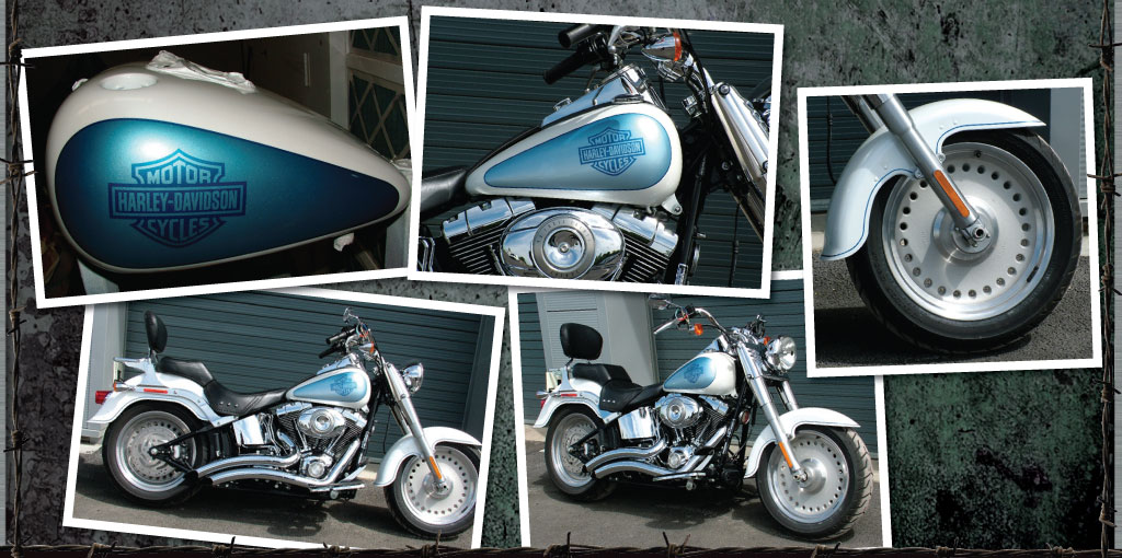 Harley Davidson painted white with ice blue panels