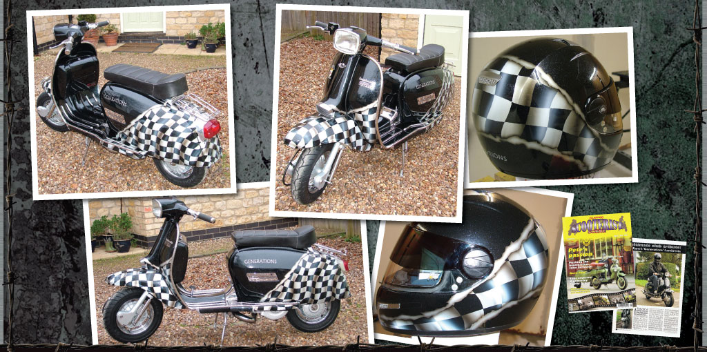 lambretta with airbrushed wavey checkered flag design