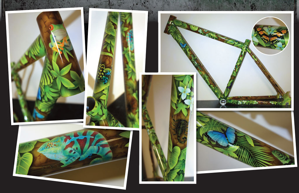 custom painted jungle bicycle frame