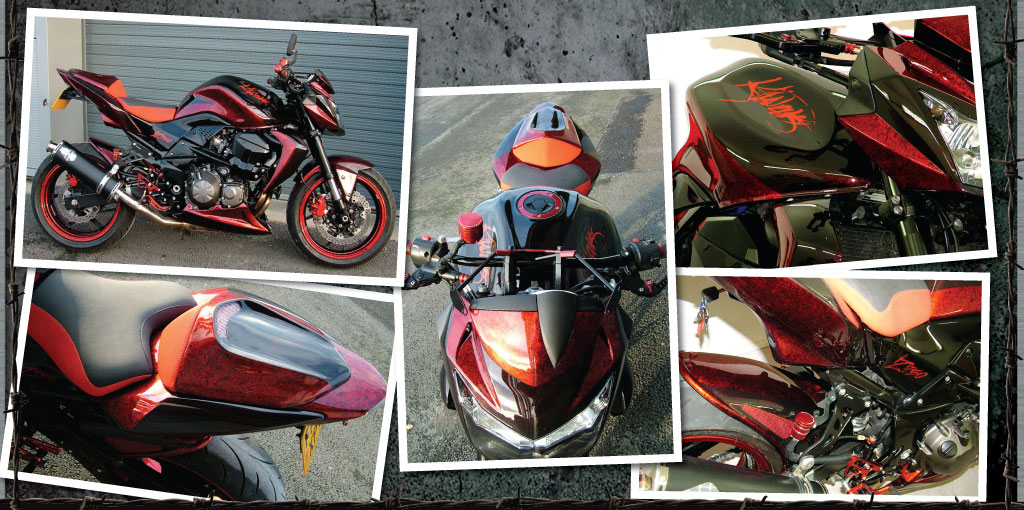 Kawasaki Z750 in red and black marble.