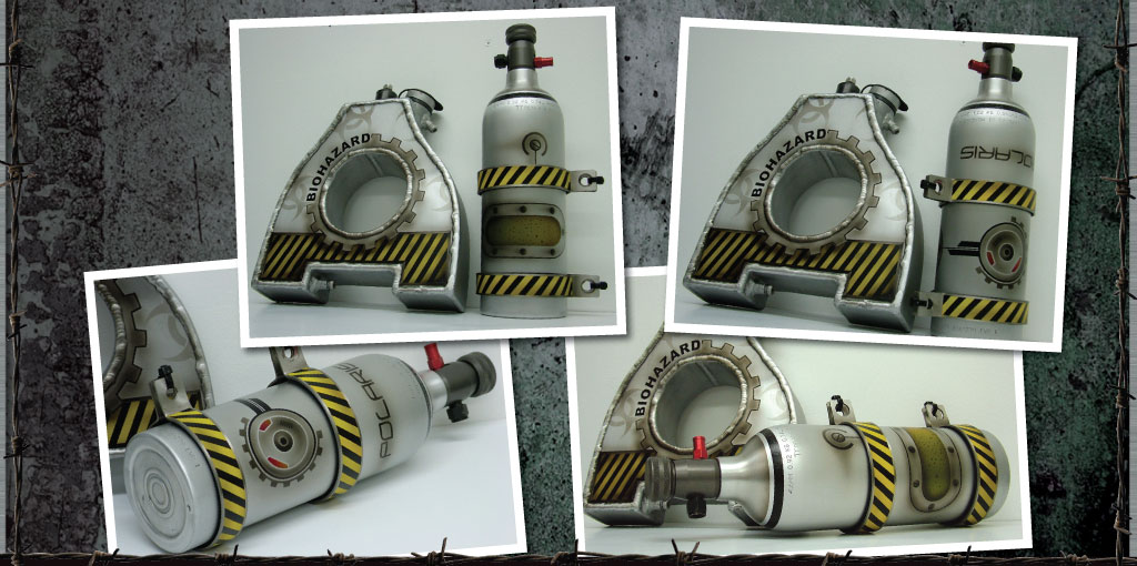 Nos bottle and header tank for the Polaris VRod