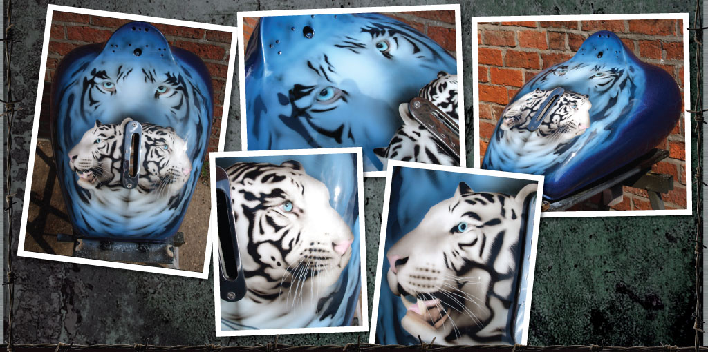 Snow tigers airbrushing on trike tank