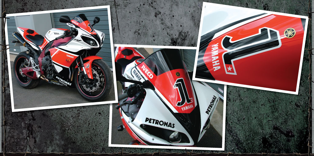 Yamaha R1 WSB rep - 100% painted graphics and lettering and striped wheels